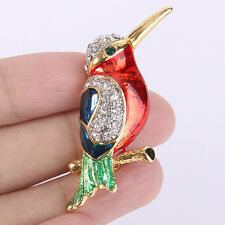 Lively Bird Animal Brooch Pin Accessory Multi Austrian Crystal Gold Plated Gift