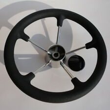 Hot 5 Spoke Stainless Steel Boat Marine Steering Wheel With Black PU Foam 13.5""