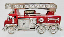 Fossil Collectible Red Fire Truck Mini Clock - Heavy Metal w/ Movable Ladder