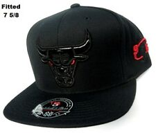 Chicago Bulls NBA Mitchell Ness Hat Cap Black Leather Logo Red Eye Fitted 7 5/8