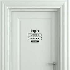 Login Funny Toilet Sign Door Sticker Custom Name Door Decal Bathroom Door Sign