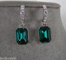 SWAROVSKI EMERALD GREEN EMERALD CUT CRYSTAL ELEMENTS EARRINGS WHITE GOLD PLATED