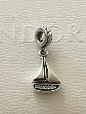 Authentic Pandora Silver Sail Away Boat Dangle Charm Bead 791138CZ Retired
