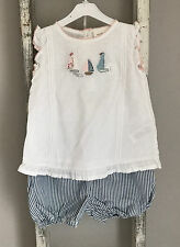 Baby Girl Next Romper Outfit Size 9-12 Months Top Shorts Sail Boat Stripe Summer
