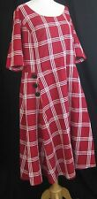 eShakti Plaid Rockabilly Pin Up Style A-line Shirtdress Size:XL/16 Red Lined