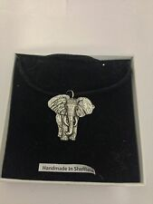 Elephant PP-A01 Pewter Pendant on a  BLACK CORD  Necklace