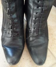 """Franco Sarto lace black leather boots Isadora 7.5 granny witch zip 3"""" spike heel"""