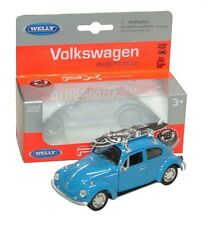 VW BEETLE WITH SURFBOARD - DieCast Pull Back Volkswagen Car Model Toy by Welly