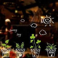 Green Removable Potted Plants Pot Wall Stickers Quote Living Room Decor