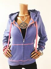 PINK Victoria's Secret Women Hooded Jacket, L Size, Purple/Hot Coral Full Zip