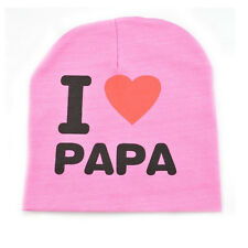 Pink I Love PAPA Newborn Baby Toddlers Infants Unisex Caps Kids Warm Beanie Hats