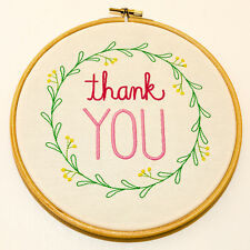 """Thank You - Wall hanging in 7"""" wooden hoop."""