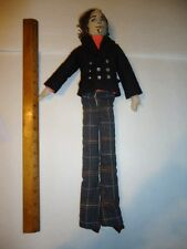 """Vtg cloth 17"""" handmade  boy doll by MARCIA WEISZ detailed embroidered face"""