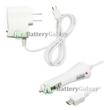 White Rapid Micro USB Battery Home Wall Travel AC+Car Charger for Cell Phone