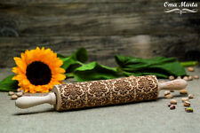 Rolling Pin Wooden Cut Laser Engraved Rolling Embossing Roll Damask pattern