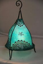 Moroccan lamp. Green colour with henna design.Ethnic + metal frame,spiral top