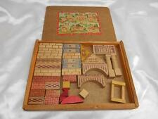Antique Wood BUILDING BLOCKS Construction PLAY SET Wooden Old Vtg Childs Toy