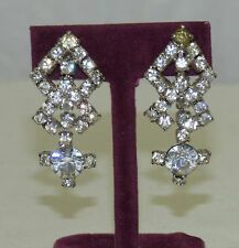Pair Weiss Clear White Rhinestone Dangle Drop Sparkly Screw Earrings Sparkling