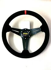 Universal 350mm Flat Steering Wheel in Black Suede/Stitching MOMO OMP SPARCO ND
