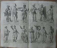 1744 Large Original Engraving - Male and Female Natives Of West Africa -  J. Kip