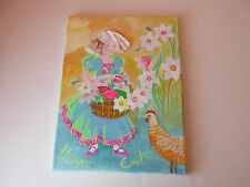 "Handpainted Russian Girl Easter Egg+Rooster Folk Art Painting Canvas 9""x 12"""