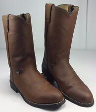 Justin Basics Women's Slip On Western Cowgirl Boots Brown Leather EUC! Size 8 ½