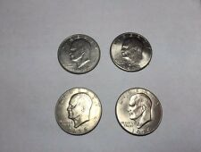 Lot of 4 US One Dollar Eisenhower Coins (1972 & 1974)