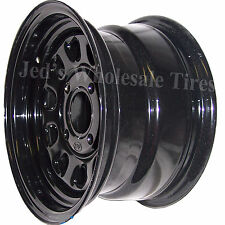 "1) 12"" 12x7 5+2 4/110 ITP Delta Steel Black D-Window DOT RIM WHEEL D12F511 10mm"