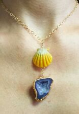 Hawaii sunrise shell Purple Druzy geode gold fill pendant necklace