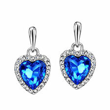Swarovski Element Crystal Jewellery Ocean Blue Sapphire Heart Pierced Earrings