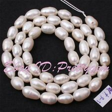 5-6mm Natural White Oval Freshwater Pearl Gemstone Loose Spacer Beads Strand 15""