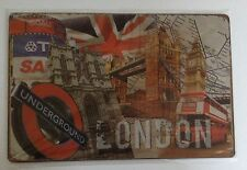 LONDON BUS and BIG BEN- UK-VINTAGE RETRO SIGN PLATE in METAL-ENGLAND