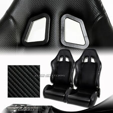 1 Pair Carbon Style PVC Leather Reclinable Racing Seats w/ Sliders Universal 1