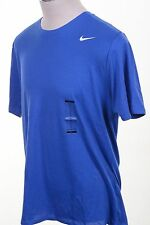 Nike Dri Fit Men's Royal Blue White Swoosh Athletic Cut Tee Shirt Crewneck XL