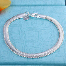 Solid Silver Jewelry Lovely Flat Soft Snake Bone Woman Men Bracelet 6MM H164