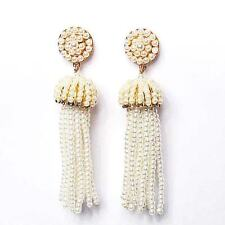 DRAMATIC PEARLY BEADED TASSEL STATEMENT EARRINGS