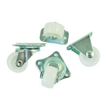 "4 Pcs Practical 1"" Plastic Wheel Rectangle Top Plate Fixed Swivel Caster Set BT"