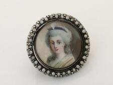 Antique Georgian Handpainted Miniature Seed Pearl & Silver Portrait Brooch/Pin