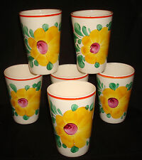 "Vintage Czechoslovakia Czech Hand Painted Floral 4 ¼"" Pottery Ceramic Tumblers"