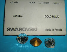 SWAROVSKI ® - 1 Pz  Cabochon Quadrato 4470 -20 mm.  Crystal Gold Foiled