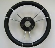 New OEM Gussi Boat Steering Wheel M933 Black Leather Wrap Rim & Silver Spokes