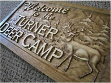 Personalized Name Sign Custom Wood Plaque Man Cave Hunt Deer Bear Cabin Camp