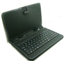 "Refurb Slim Black 9"" Tablet PC Faux Leather Keyboard Travel Case Micro USB"