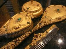 Antique Jeweled Hand Mirror, Brush, Dresser Jar, & Comb Set, Ornate Filigree