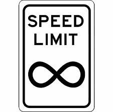"Speed Limit Infinity Sign - New 8"" x 12"" Aluminum Road and Street Sign - No Rust"