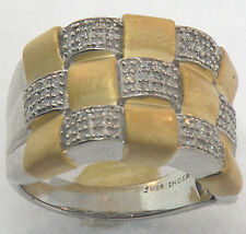 LADIES STERLING SILVER GOLD DIAMOND RING SIZE 7