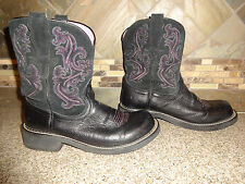 Womens Ariat Fatbaby Sz 9.5B/41M Black/Pink Leather Cowboy Boots