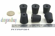 """6 Rubber Stoppers - Laboratory Stoppers - Size 3 -- With Single Hole - """"Corks"""""""