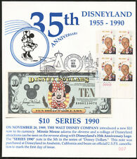 1990  DISNEY DOLLAR CARDS set   1st Day $10 note   $1, $5 & $10   #007  Mint