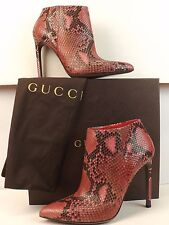 NIB GUCCI GLORIA SHOCKING PINK PYTHON LEATHER POINTY TOE ANKLE BOOTS 37.5 7.5